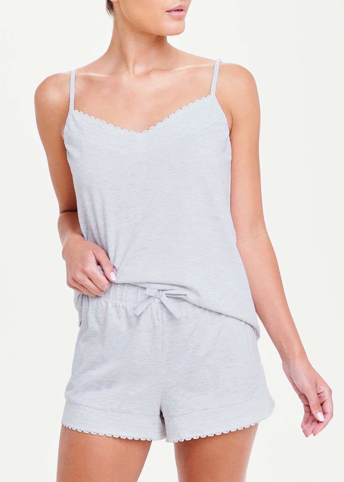 Lace Trim Cotton Modal Cami Pyjama Set