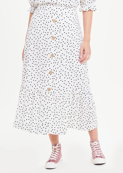 Polka Dot Co-Ord Midi Skirt