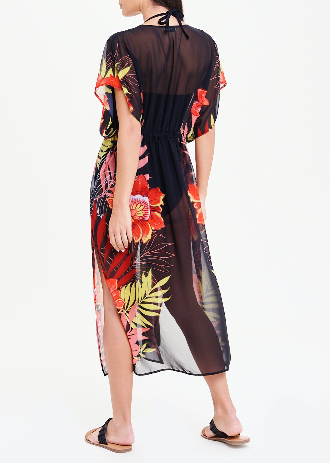 Soon Floral Palm Sheer Beach Cover Up
