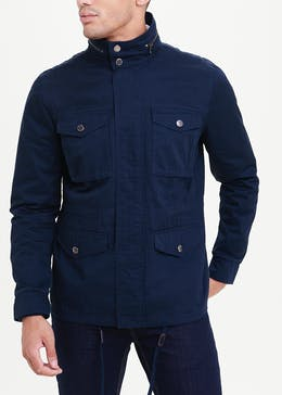 Navy Field Jacket With Concealed Hood
