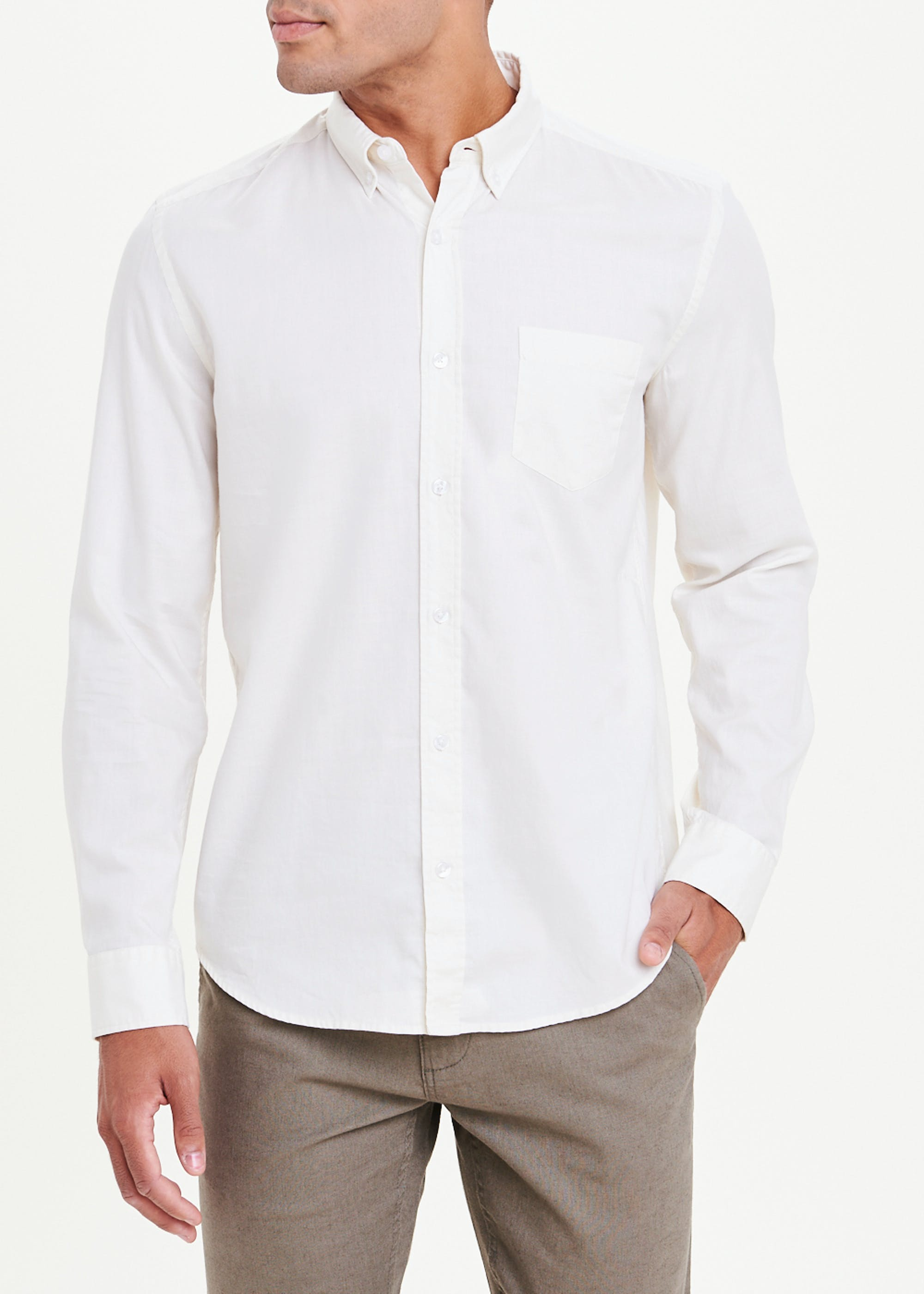 Long Sleeve Twill Shirt Beige s8lzZz
