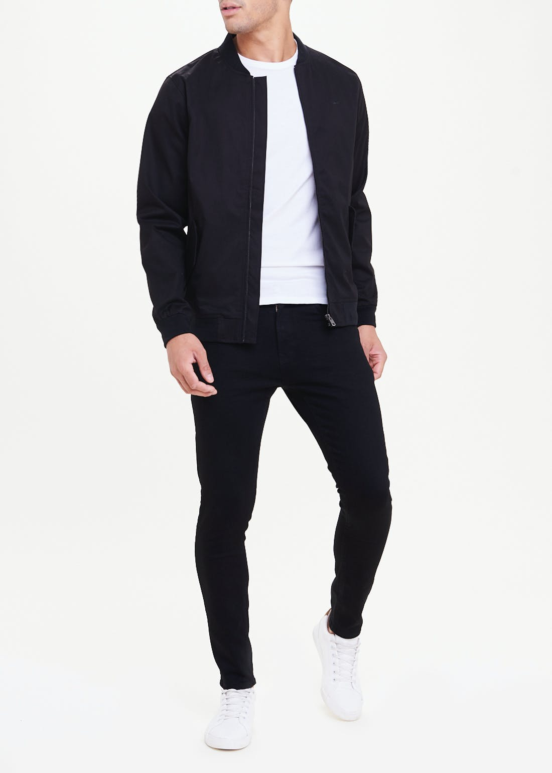 Black Showerproof Bomber Jacket
