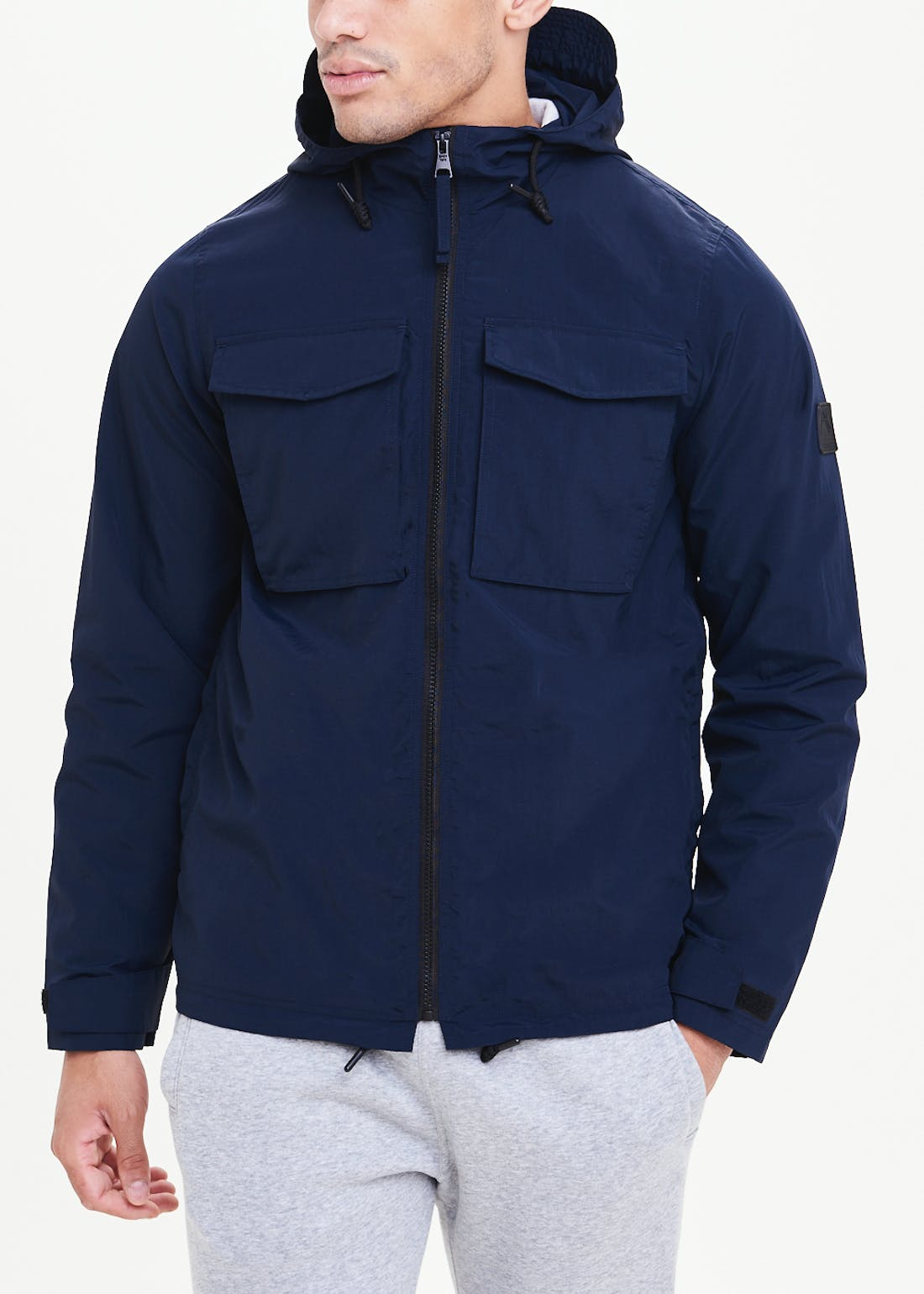 Navy Showerproof Hooded Utility Jacket