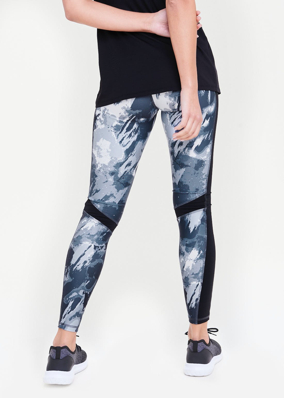 Souluxe Grey Smudge Print Gym Leggings