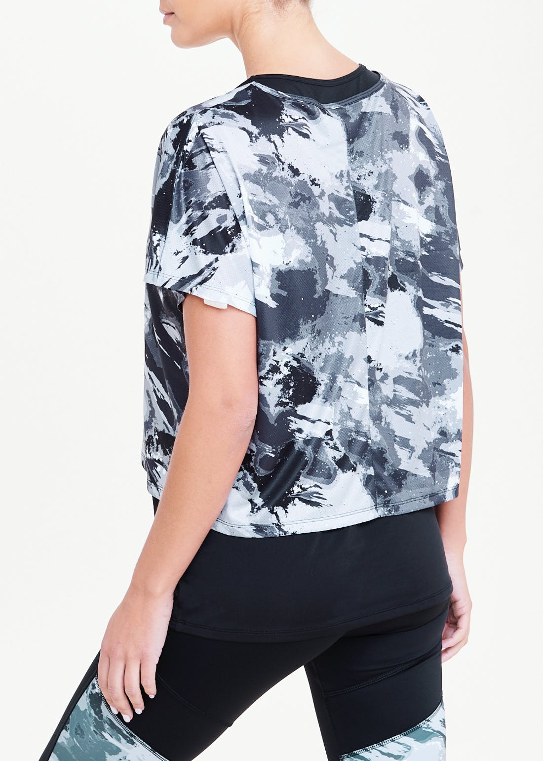Souluxe Grey Smudge Print 2 in 1 Gym Top