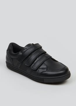 Boys Black Triple Strap Trainers (Younger 8-Older 6)
