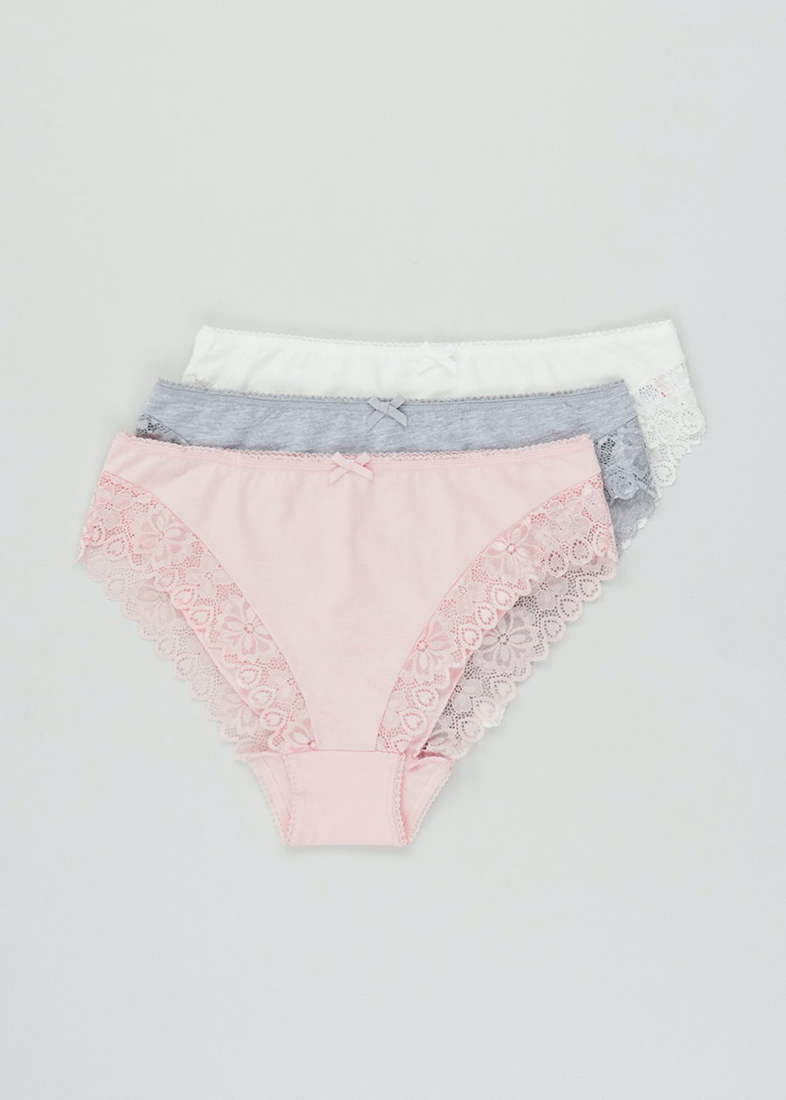 3 Pack Lace Trim Cotton High Leg Knickers