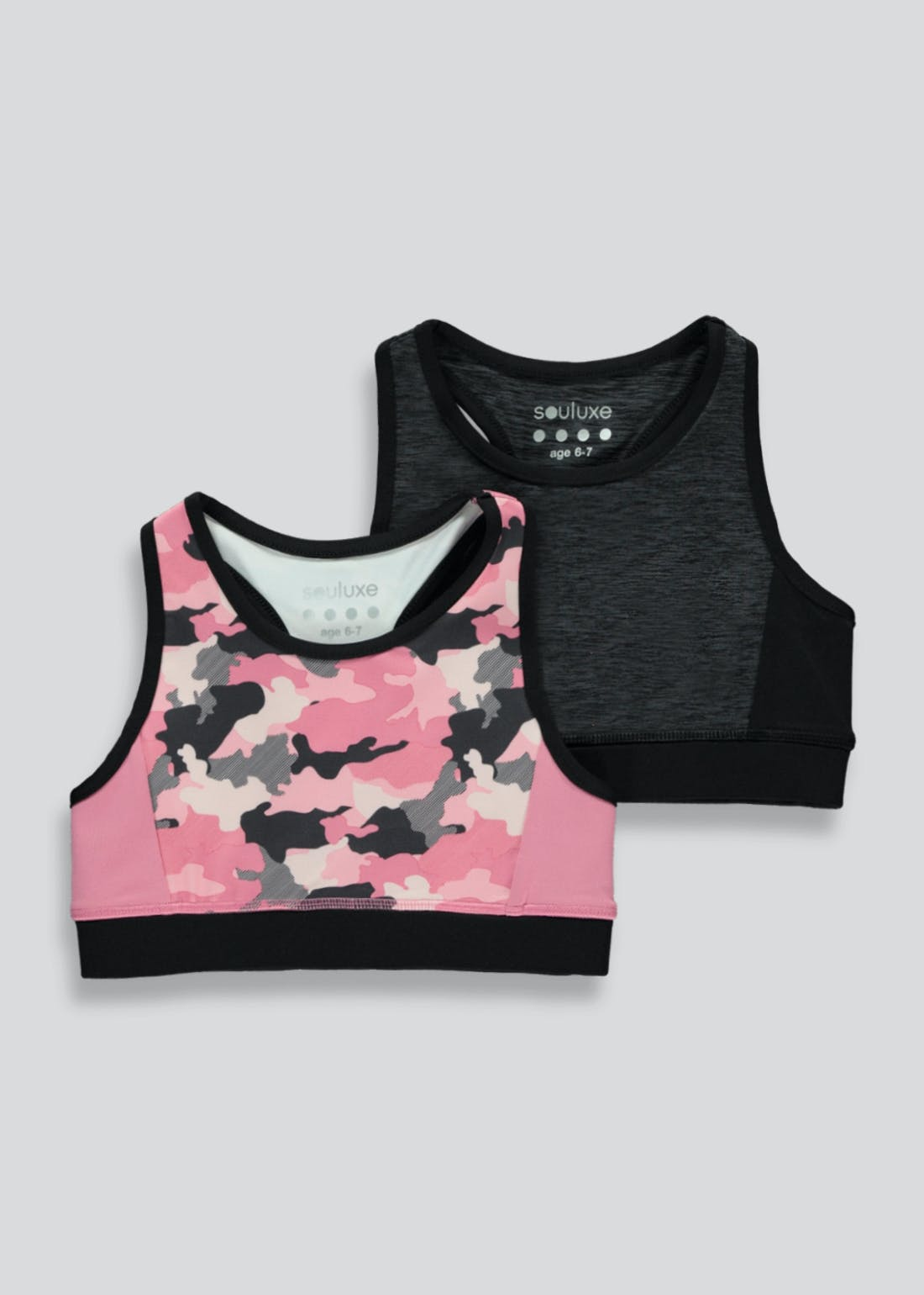 Girls Souluxe 2 Pack Camo Print Sports Crop Top (4-13yrs)