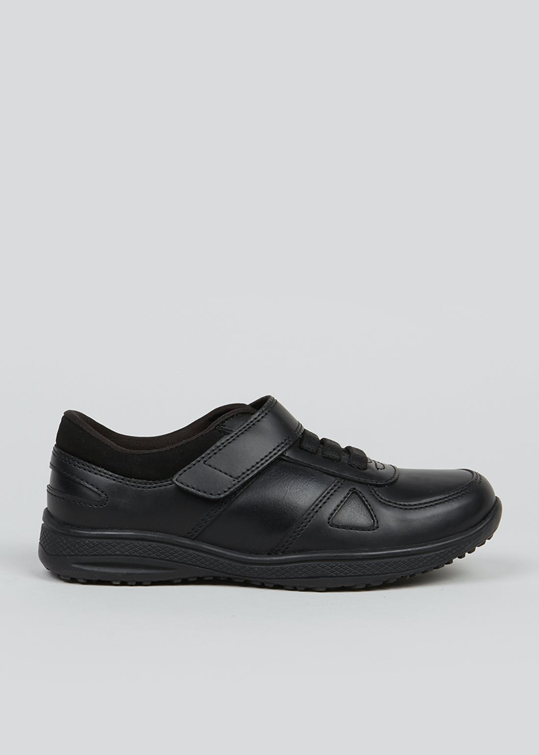 Boys Black Leather School Trainers (Younger 8-Older 6)