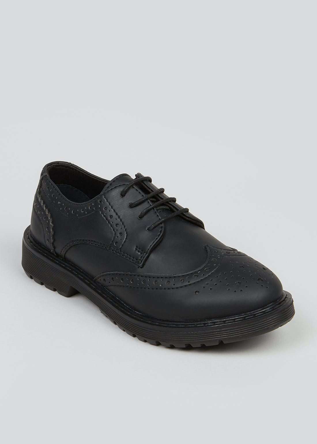 Boys Black Brogue School Shoes (Older 2-6)