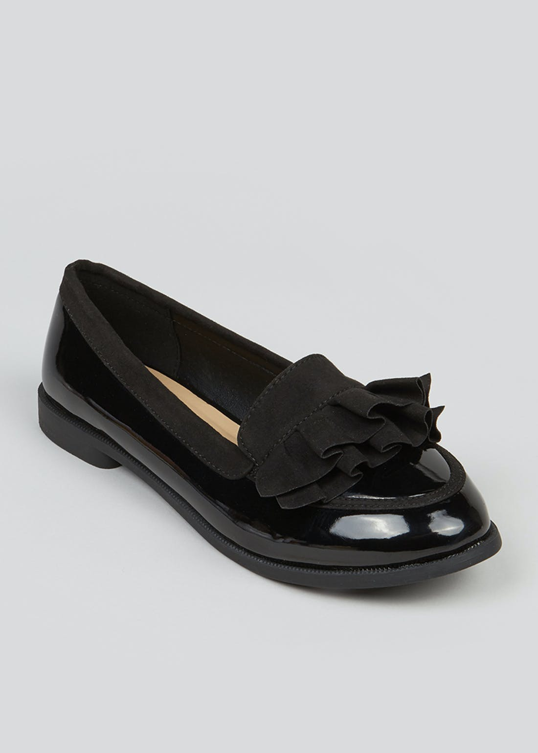 Black Patent Ruffle Loafers