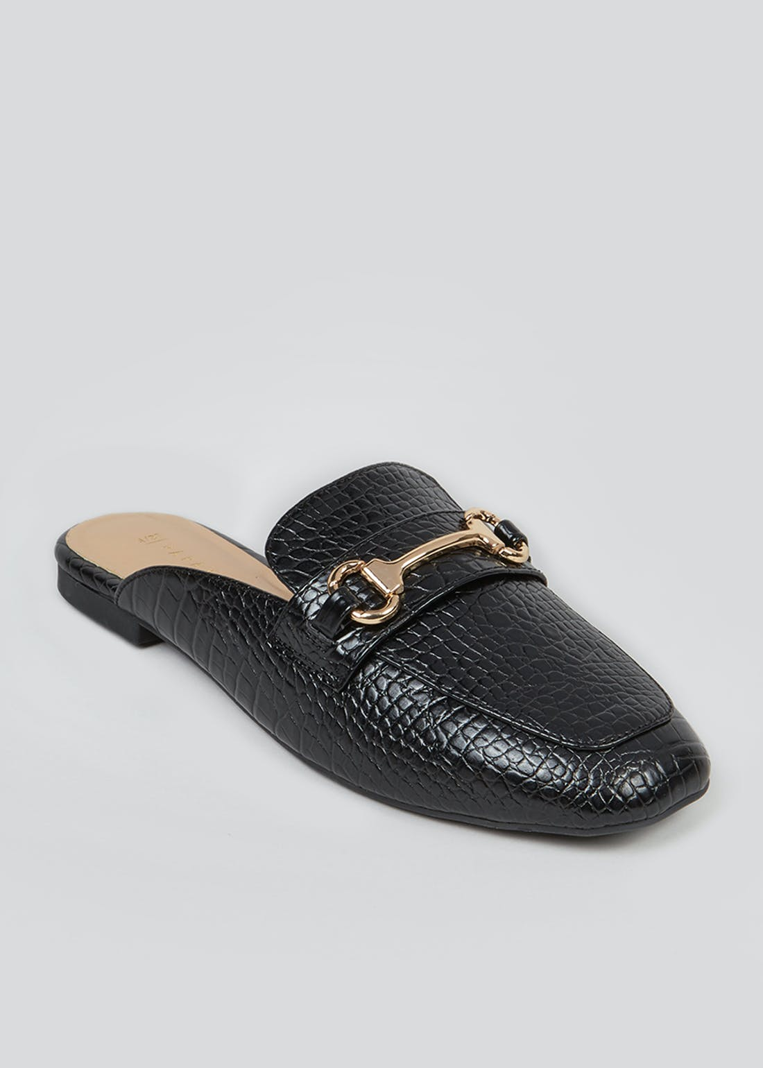 Black Mock Croc Mule Loafers