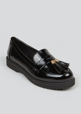 Black Chunky Sole Tassel Loafers