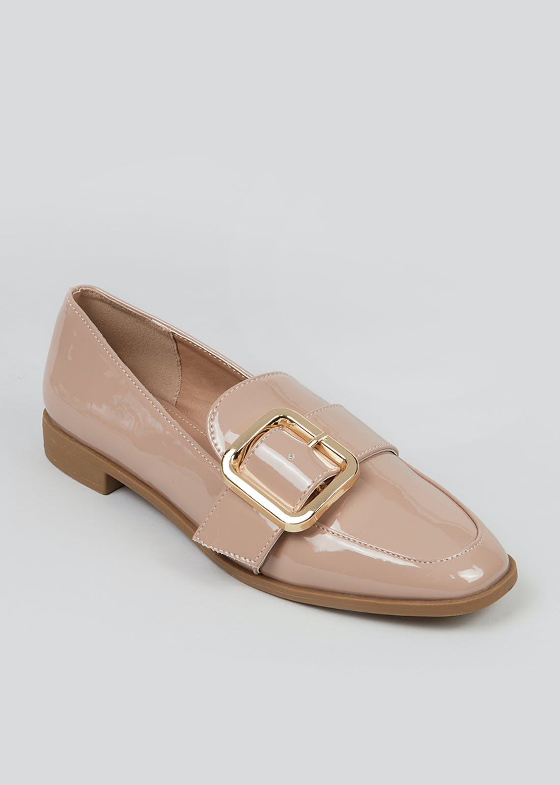 Pink Patent Buckle Loafers