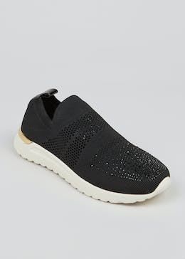 Black Diamante Knitted Sock Trainers