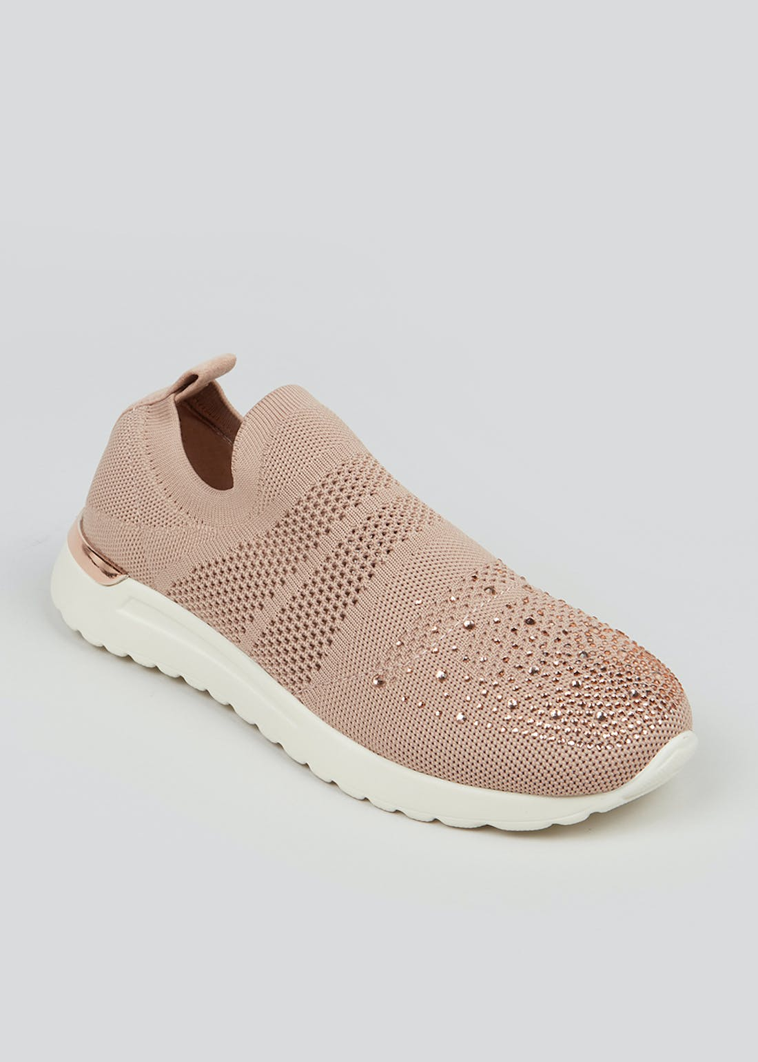 Pink Diamante Knitted Sock Trainers