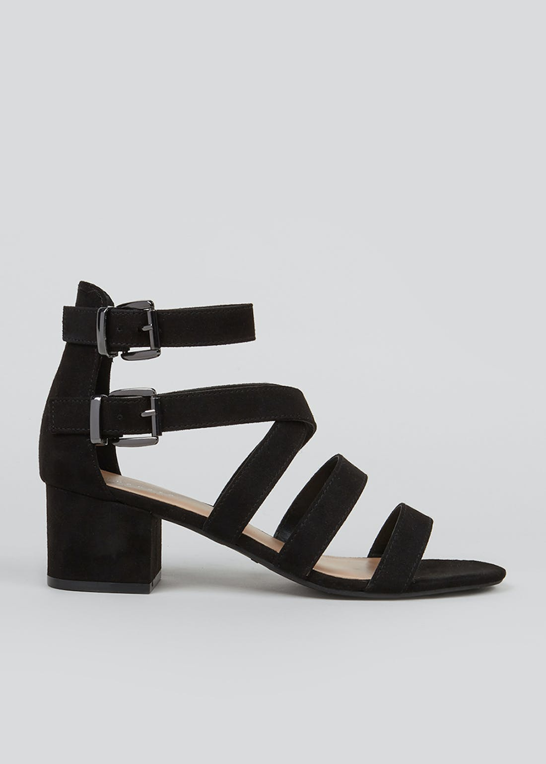 Black Suedette Strappy Sandals