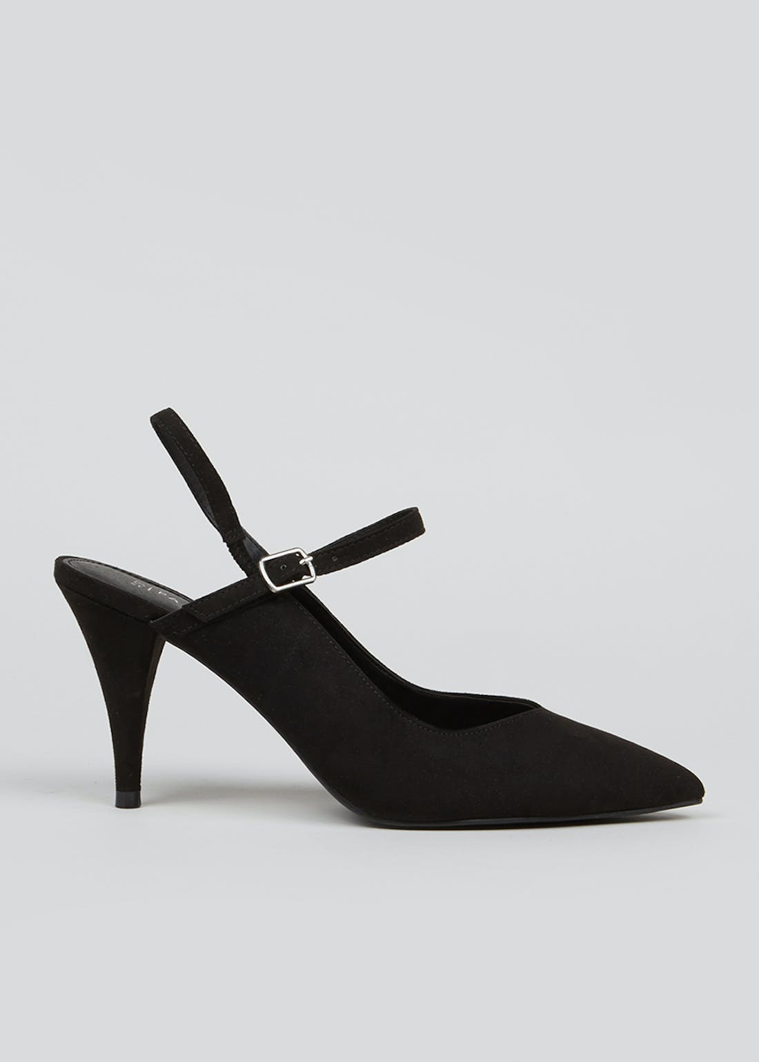 Black Strappy Pointed Court Shoes