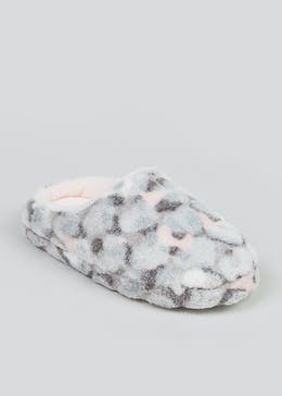 Girls Grey Fluffy Mule Slippers (Younger 10-Older 5)