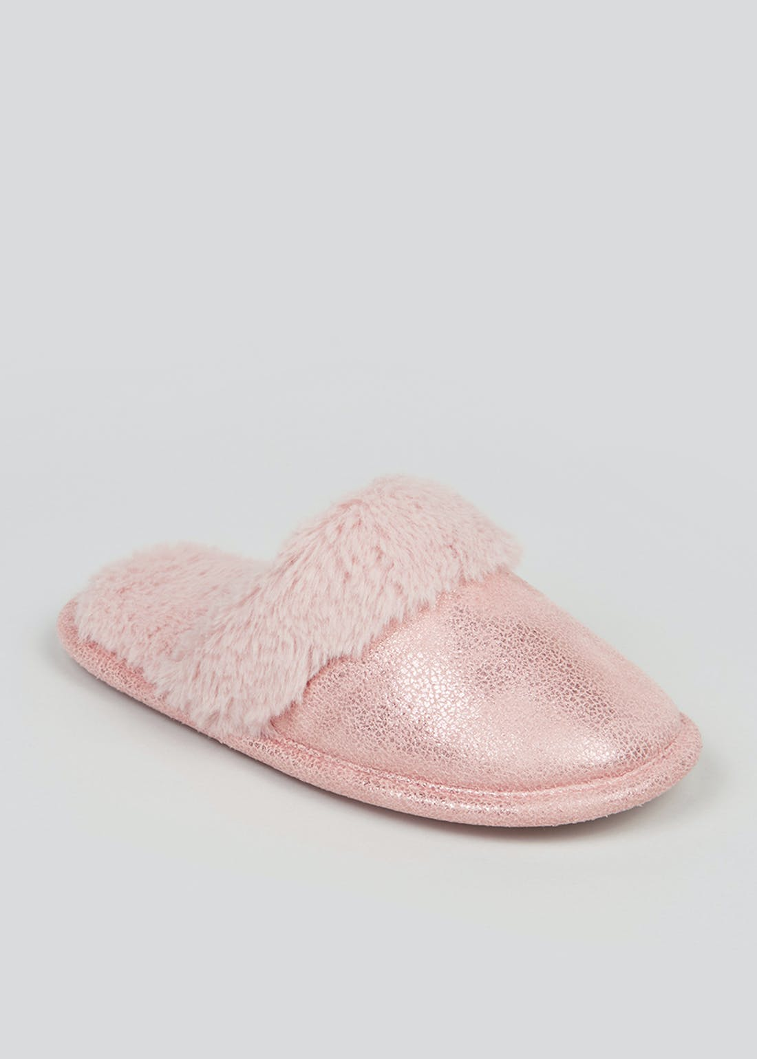 Girls Pink Fluffy Mule Slippers (Younger 10-Older 5)