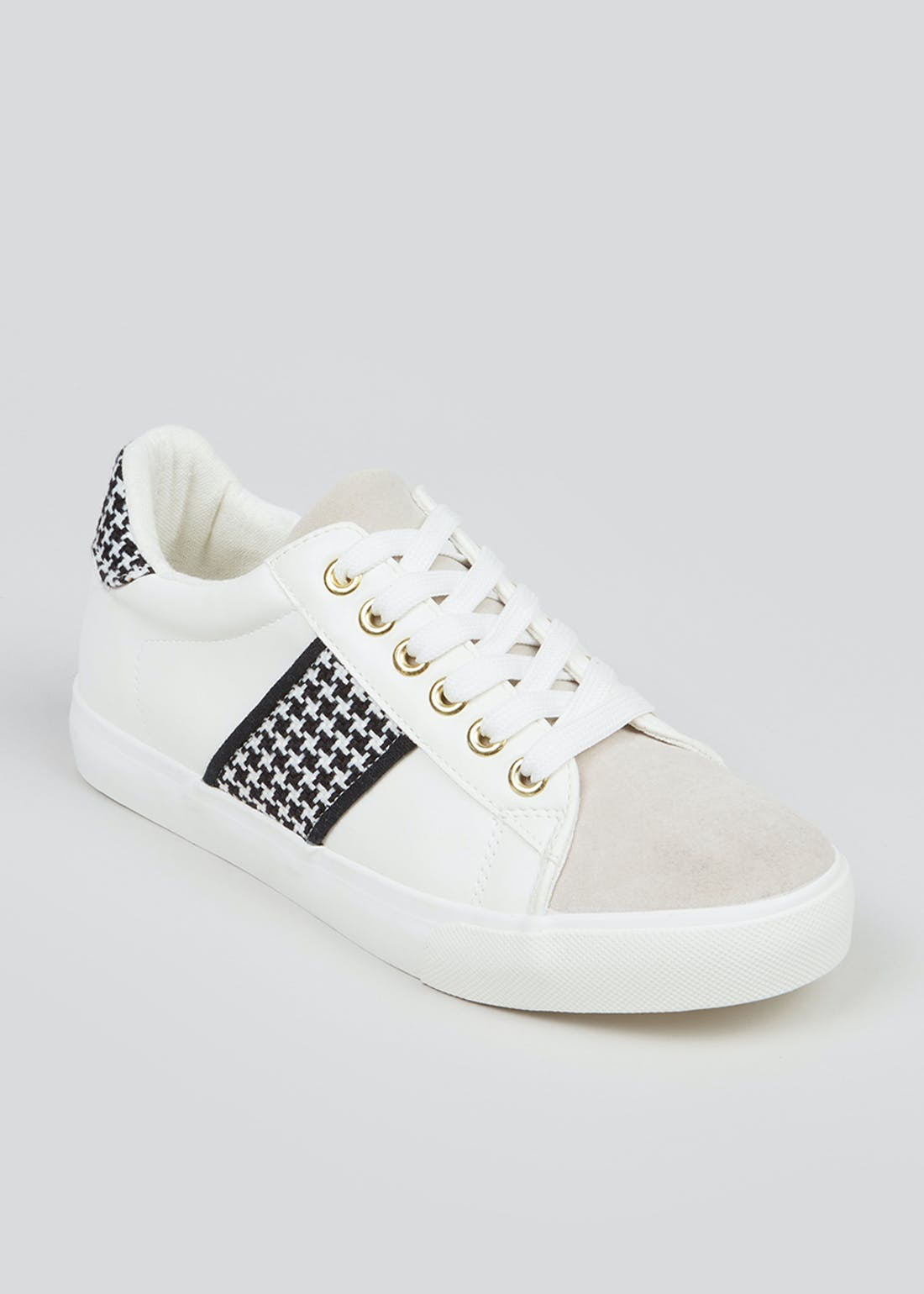 White Dogtooth Stripe Trainers