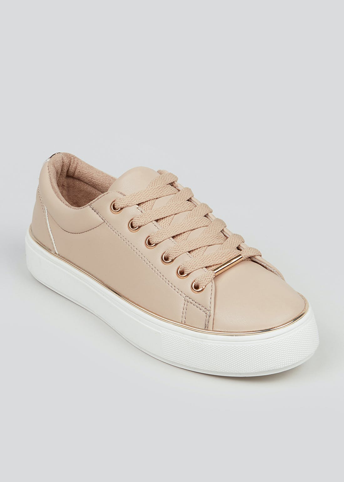 Pink Faux Leather Lace Up Trainers