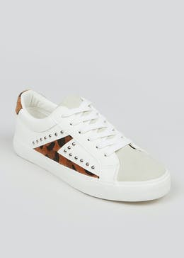 White Leopard Print Studded Trainers