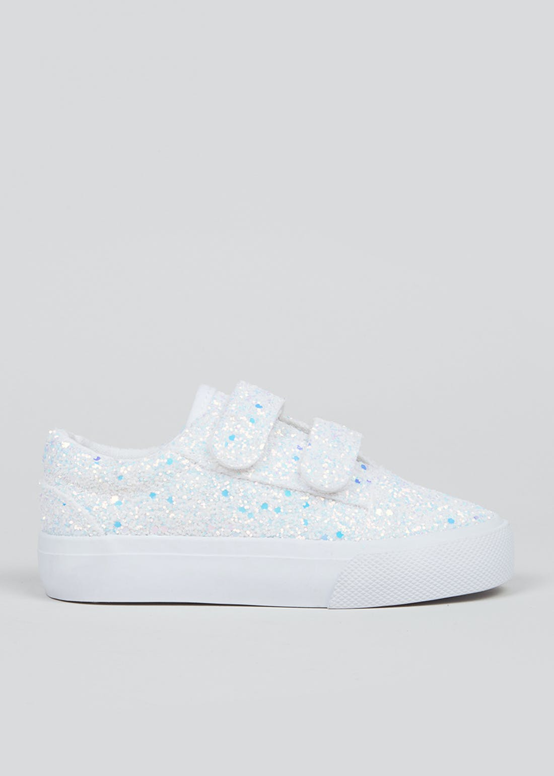 Girls White Glitter Canvas Trainers (Younger 4-12)