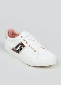White Snake Print Trainers