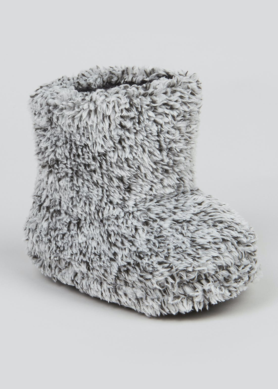 Boys Grey Fluffy Slipper Boots (Younger 4-12)