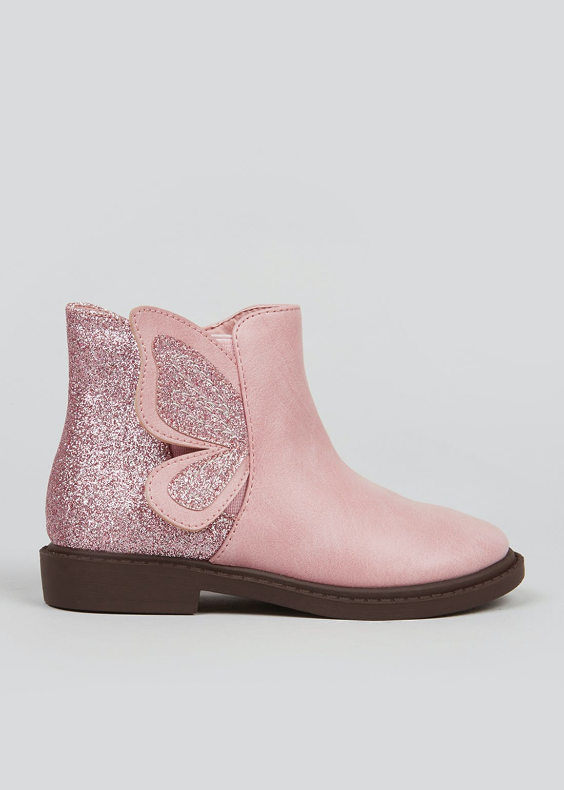 Girls Pink Glitter Butterfly Ankle Boots (Younger 4-12)