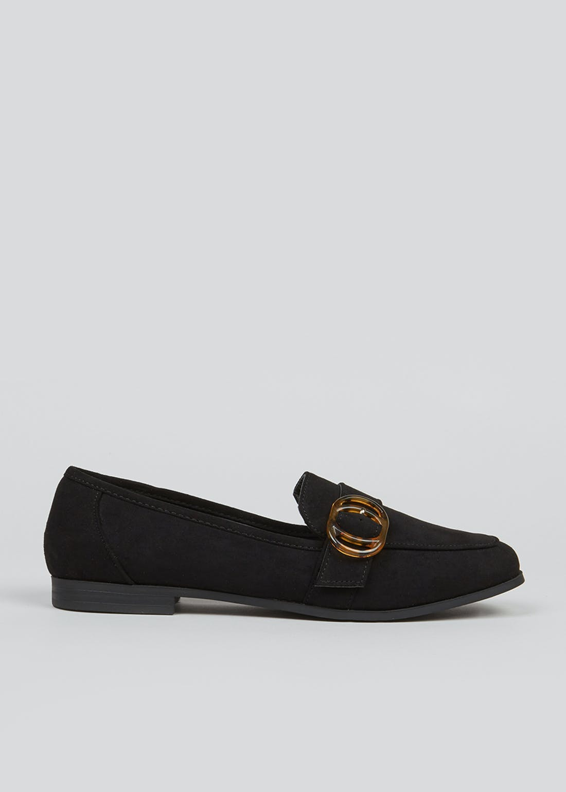 Black Suedette Buckle Loafers