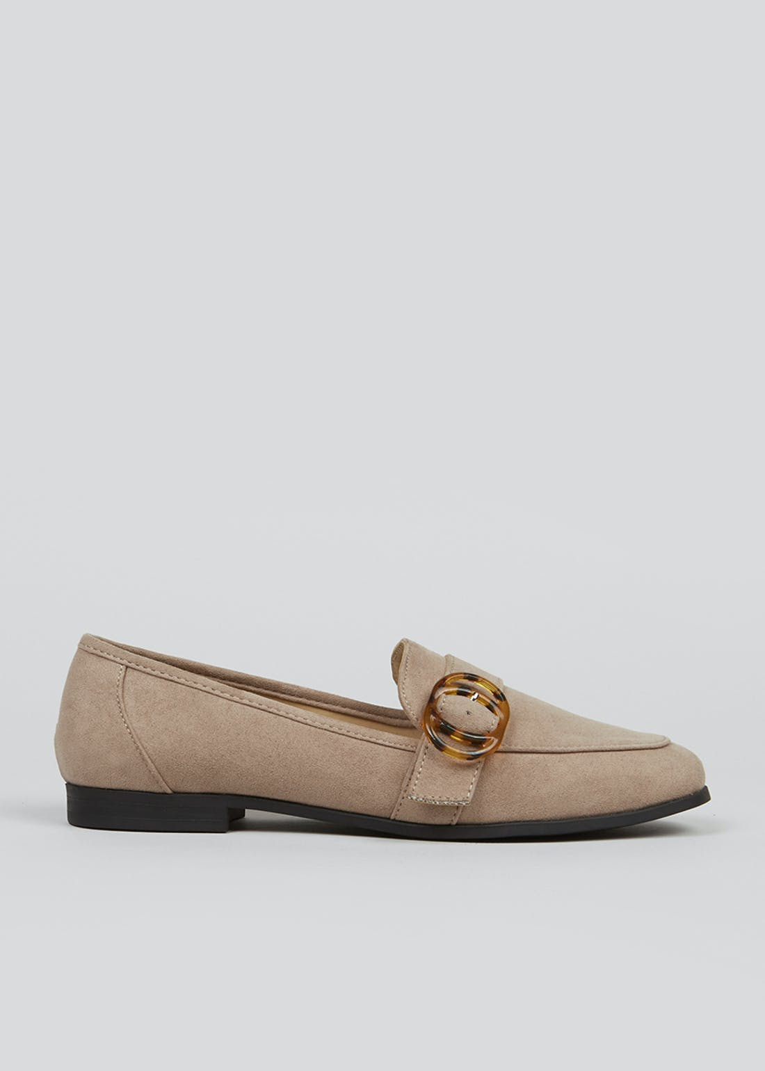 Taupe Suedette Buckle Loafers