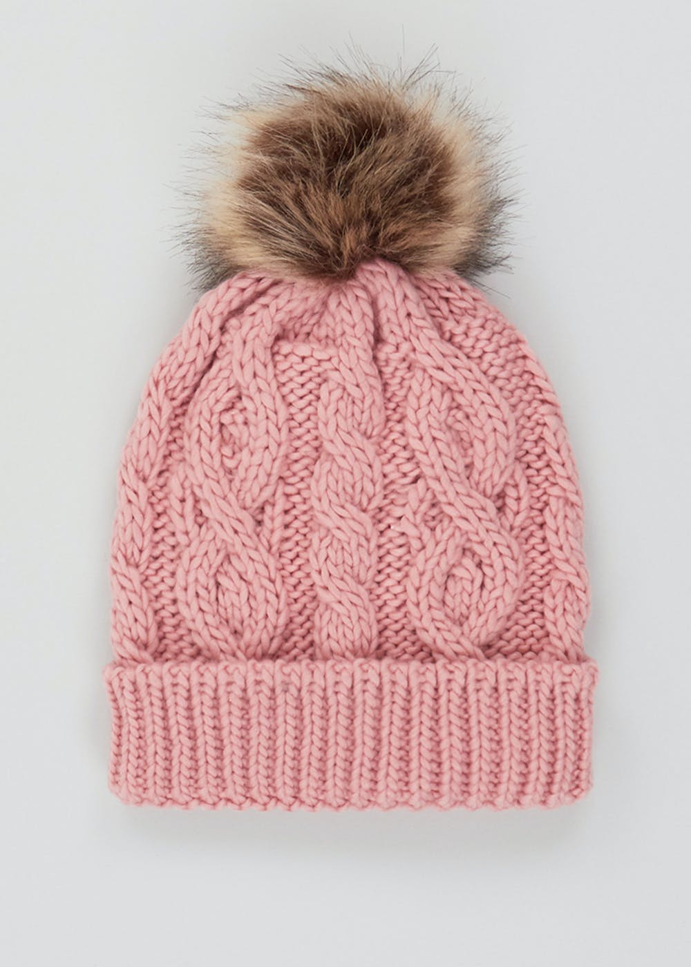 Girls Knitted Faux Fur Bobble Hat (7-13yrs) – Pink