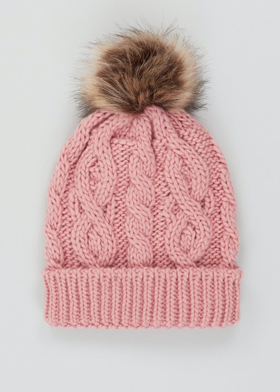 Girls Knitted Faux Fur Bobble Hat (7-13yrs)