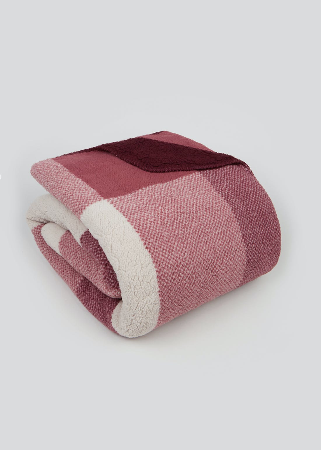Check Sherpa Fleece Throw Blanket (180cm x 150cm)