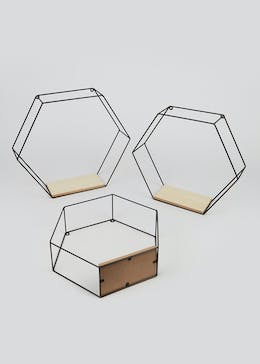 3 Pack Hexagonal Metal & Wood Shelves