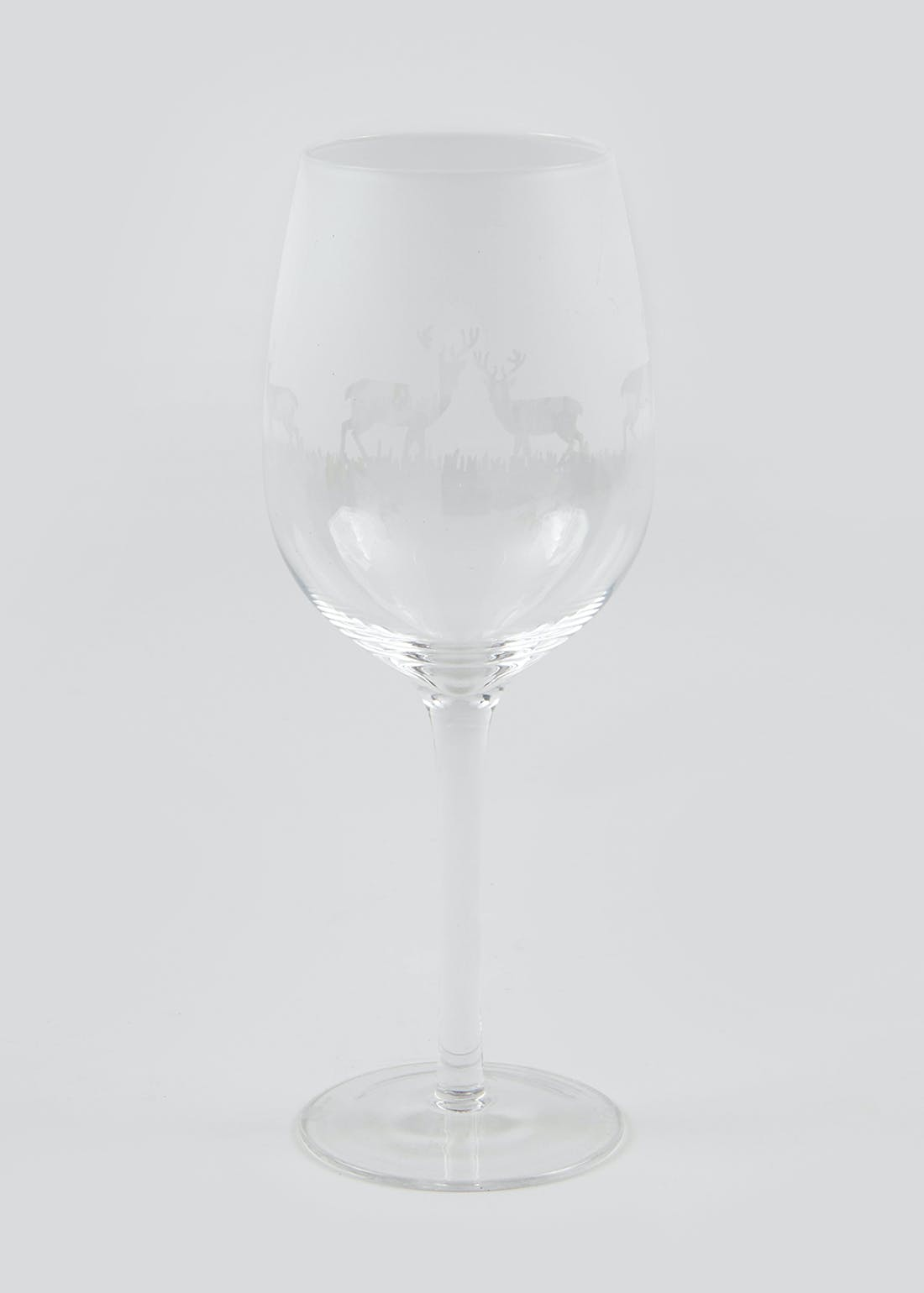 Christmas Frosted Stag Wine Glass (22cm x 9cm x 9cm)