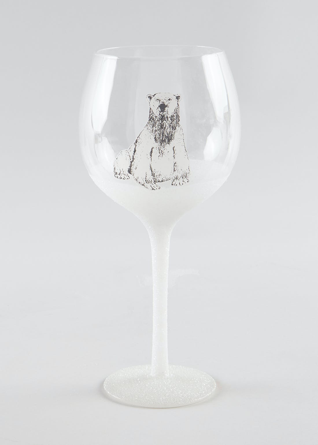 Christmas Polar Bear Wine Glass (22cm x 10cm x 10cm)