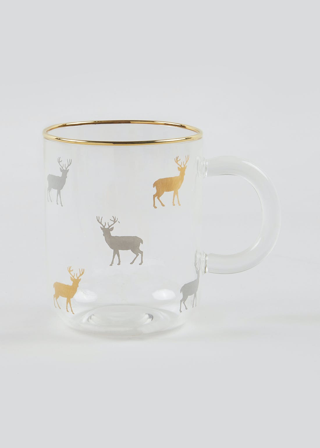 Christmas Frosted Stag Mulled Wine Glass Mug (13cm x 10cm x 8cm)
