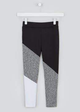 Girls Souluxe Black Panel Sports Leggings (4-13yrs)
