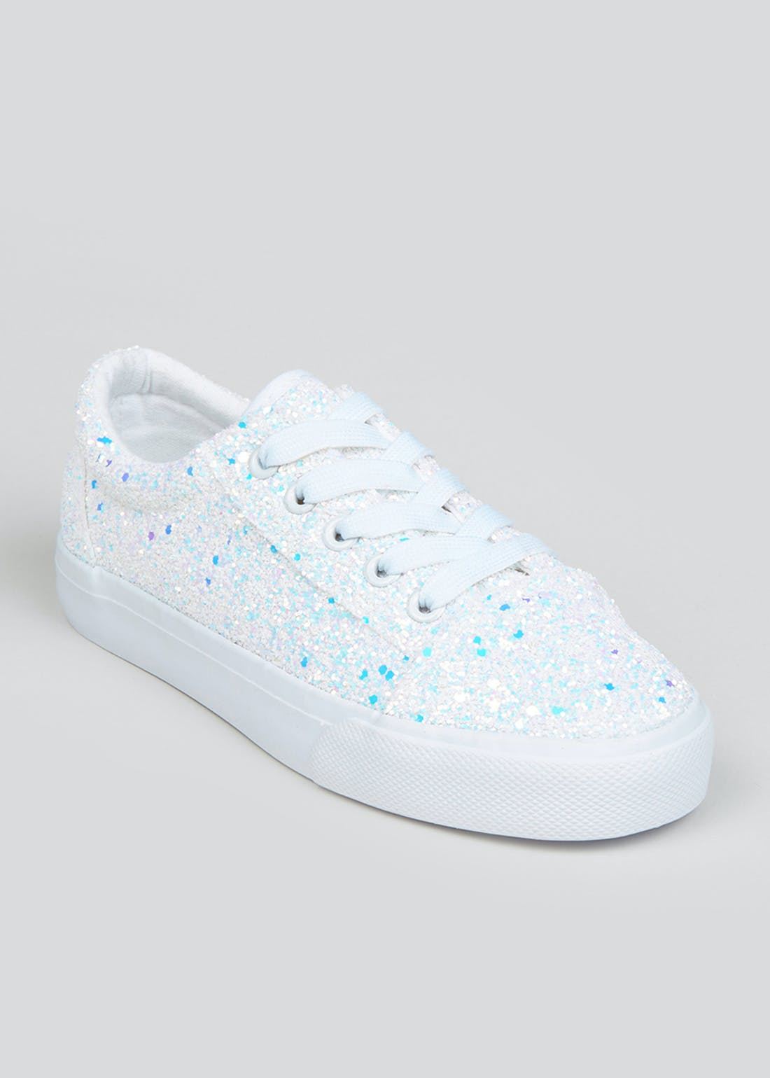 Girls White Glitter Canvas Trainers (Younger 10-Older 5)