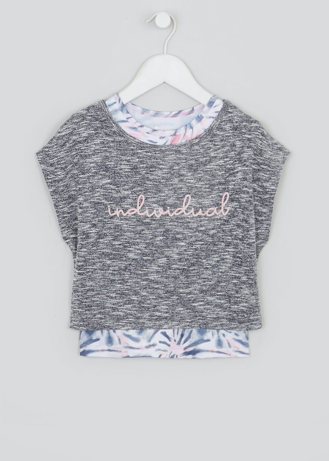 Girls Souluxe Grey Individual 2 in 1 Sports Top (4-13yrs)