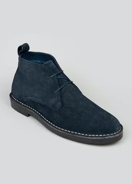 Navy Real Suede Desert Boots
