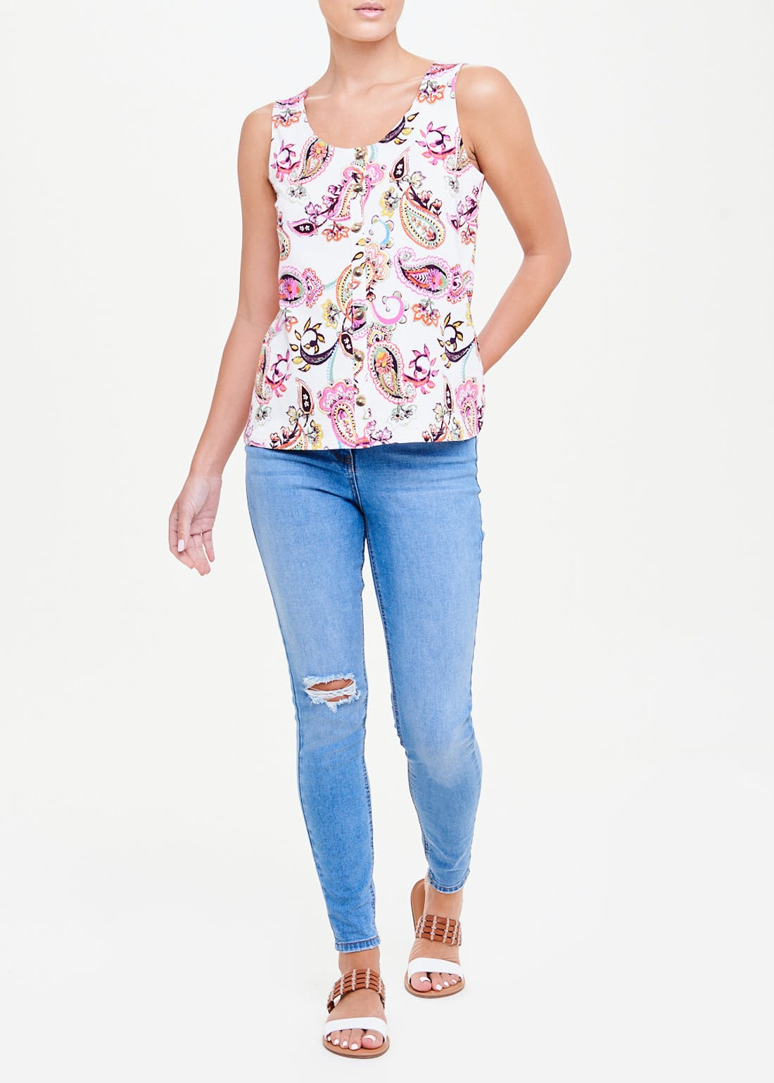 Paisley Print Button Front Vest Top