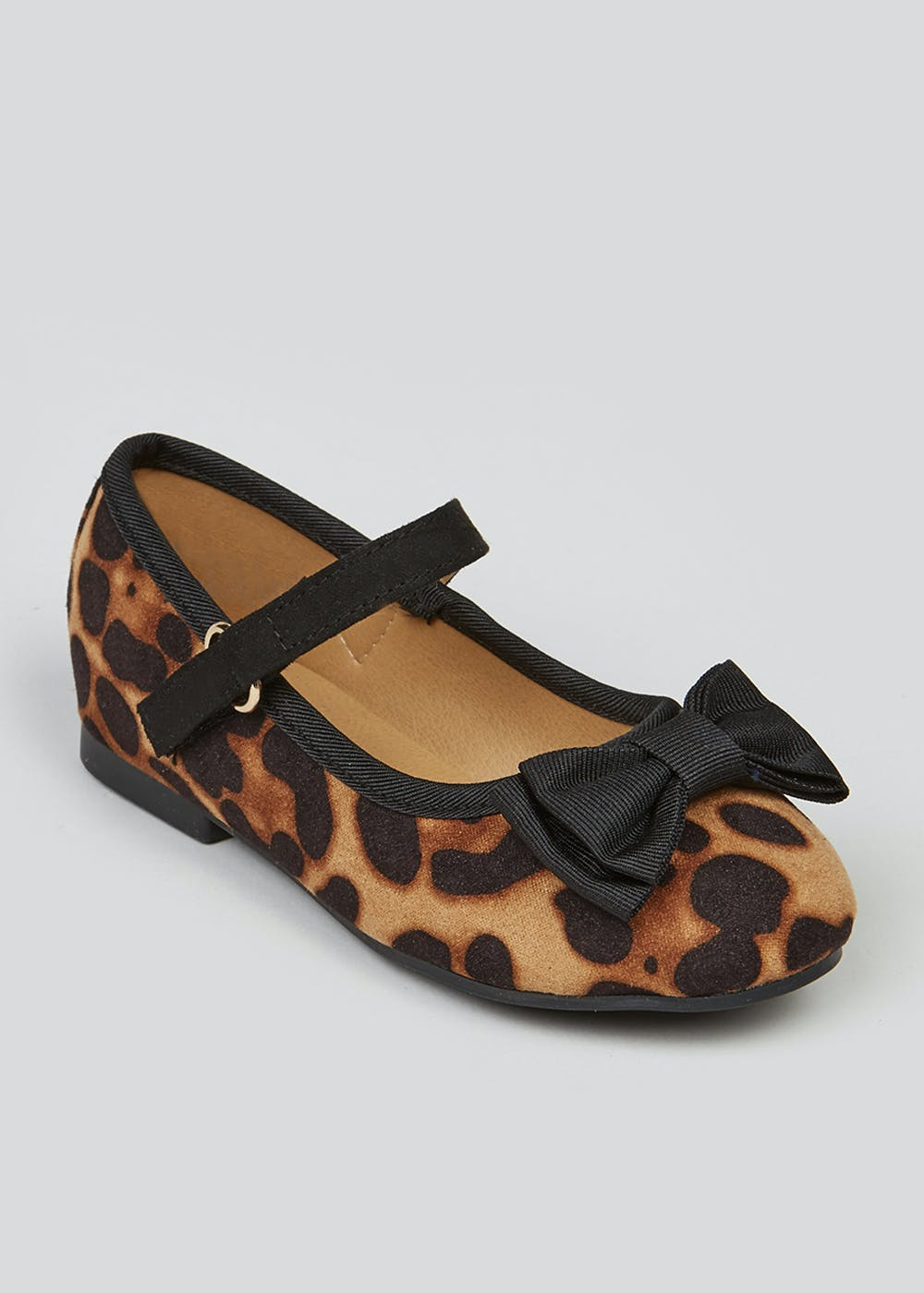 Girls Leopard Print Ballet Shoes (Younger 4-12) – Brown
