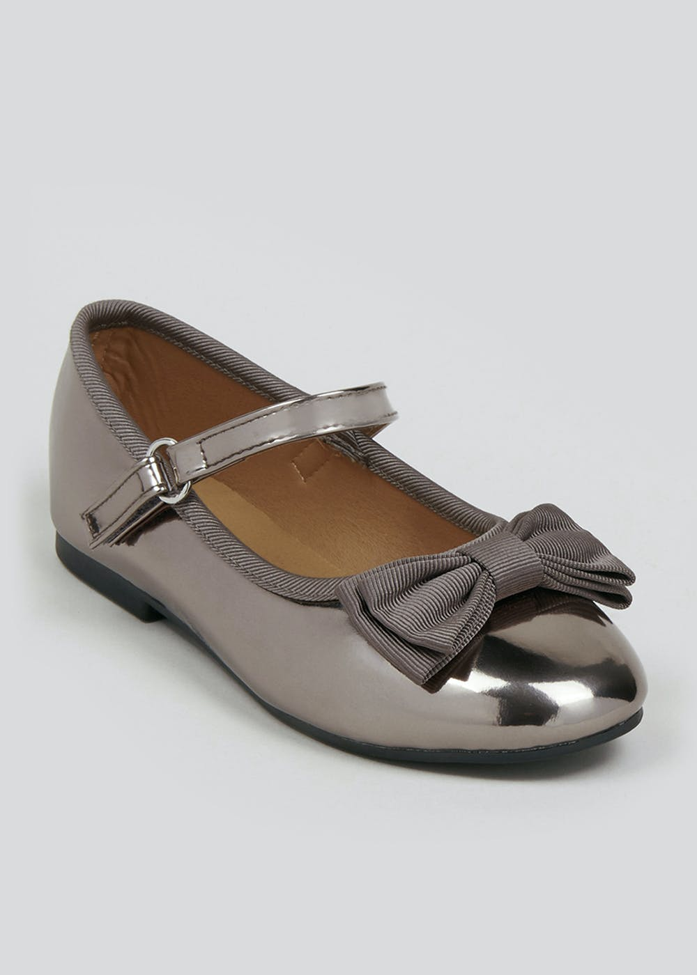 Girls Grey Patent Ballet Shoes (Younger 4-12) – Silver
