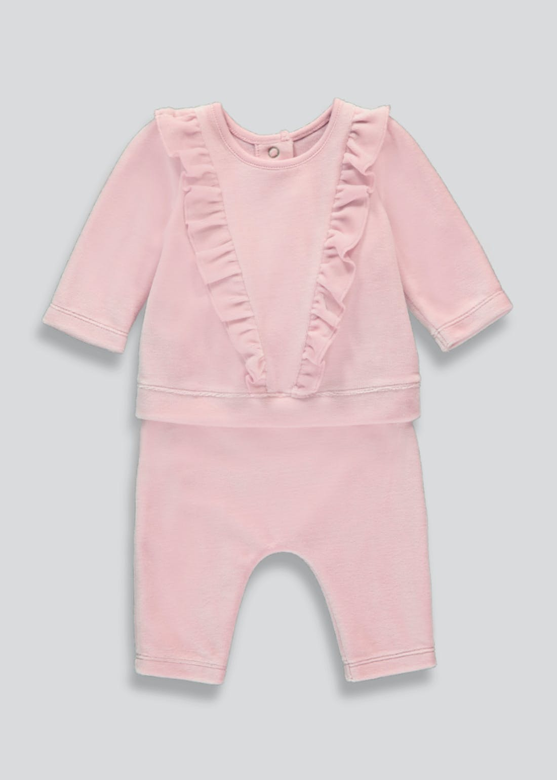 Girls Pink Velour Tracksuit (Tiny Baby-23mths)