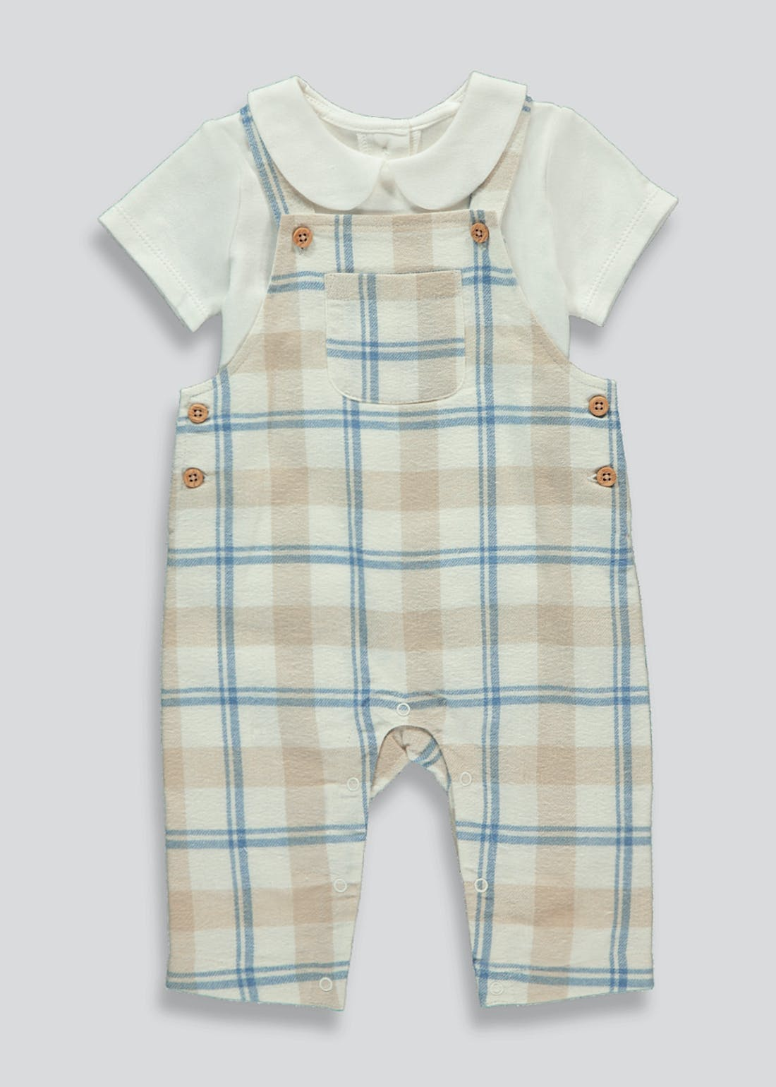 Boys Check Dungaree & T-Shirt Set (Tiny Baby-23mths)