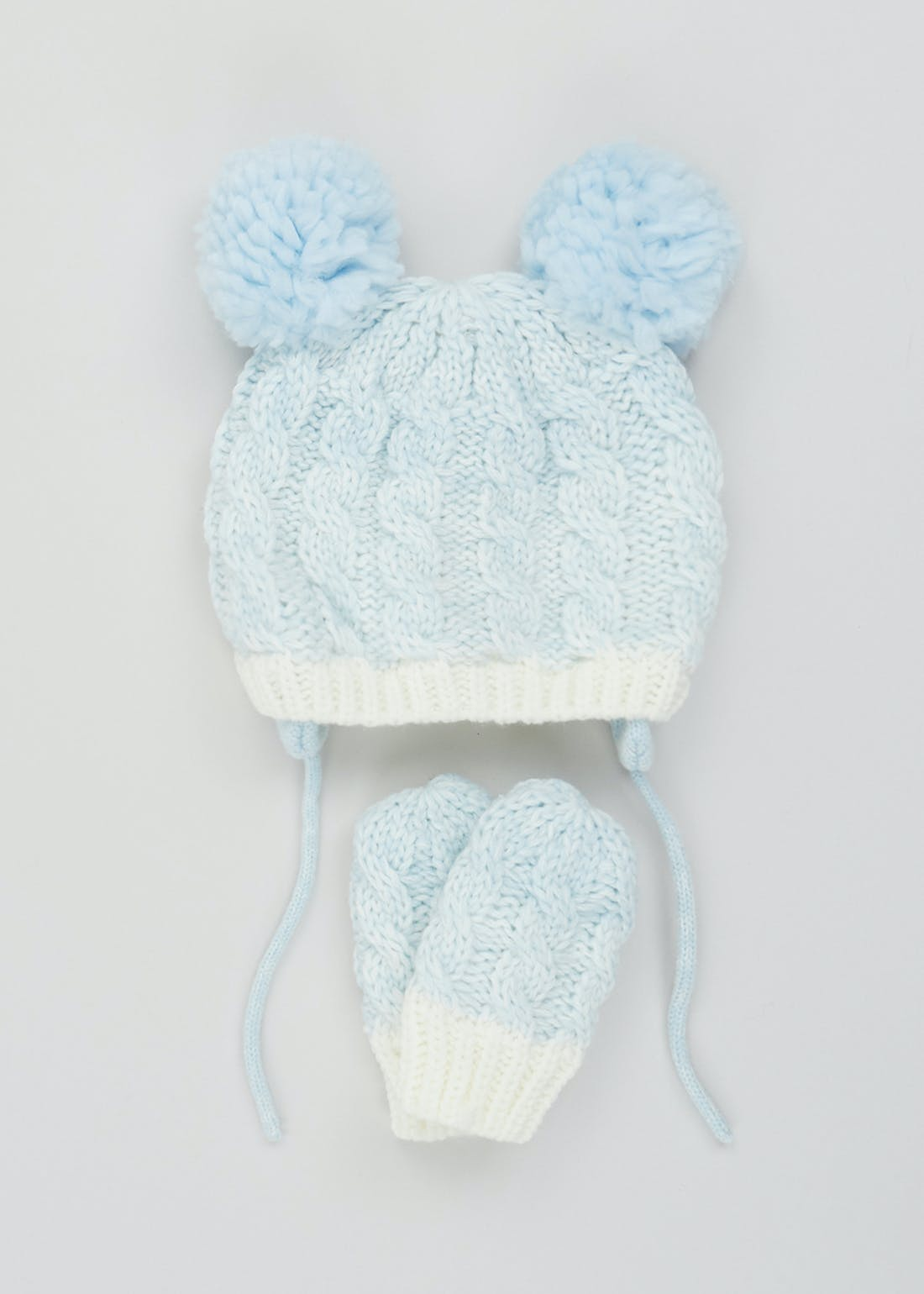 Boys Knitted Bobble Hat & Mittens Set (Newborn-24mths)